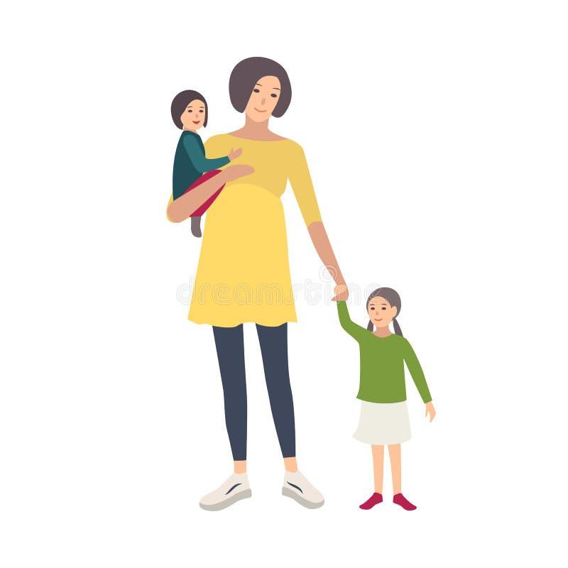 Donna incinta sorridente che cammina con le sue figlie isolate su fondo bianco Personaggio dei cartoni animati adorabile della fe royalty illustrazione gratis