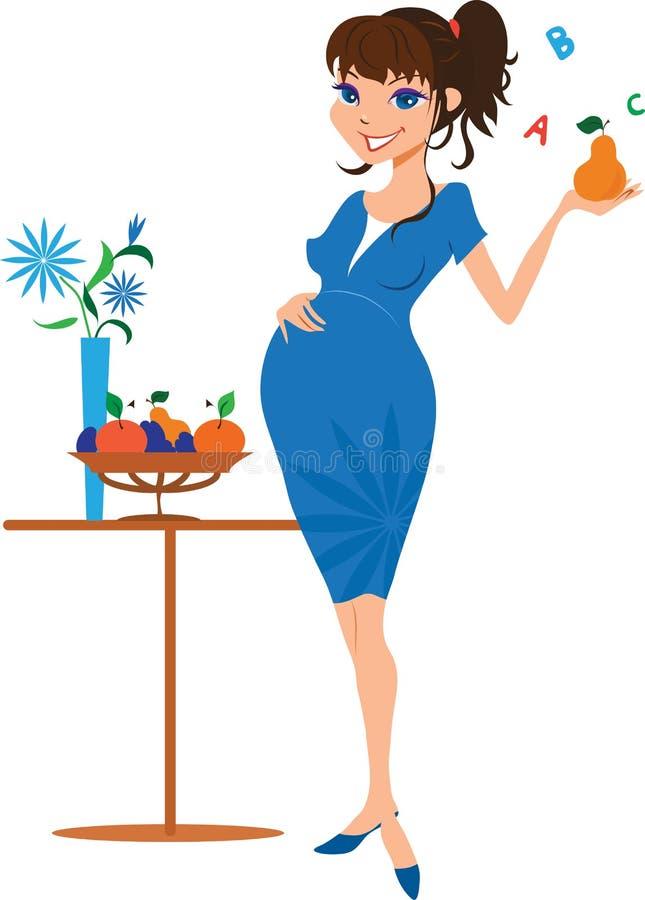 Donna incinta sorridente con la pera illustrazione di stock