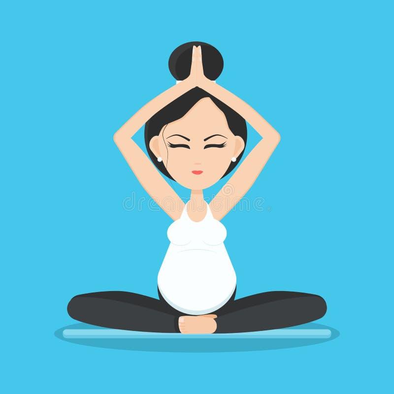 Donna incinta sorridente isolata che medita e che si rilassa nella posa di yoga sulla stuoia di yoga royalty illustrazione gratis