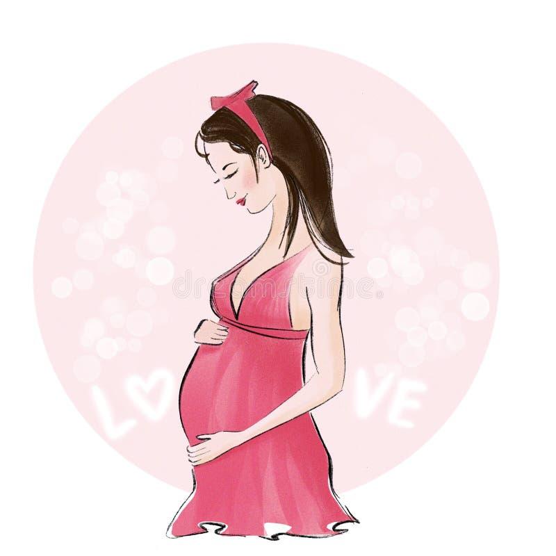 Donna incinta sorridente sveglia in camicia da notte rosa illustrazione vettoriale