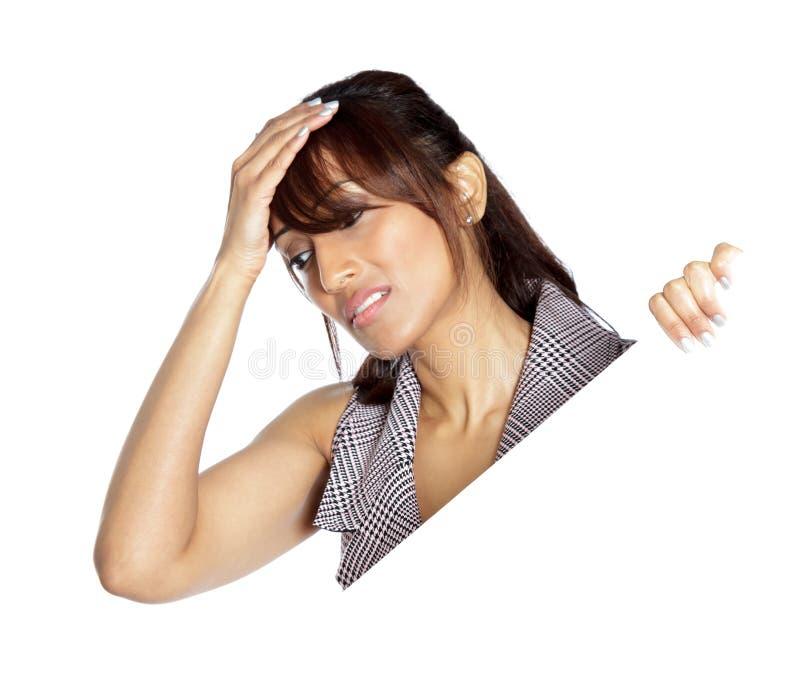 Donna indiana attraente isolata su fondo bianco fotografia stock