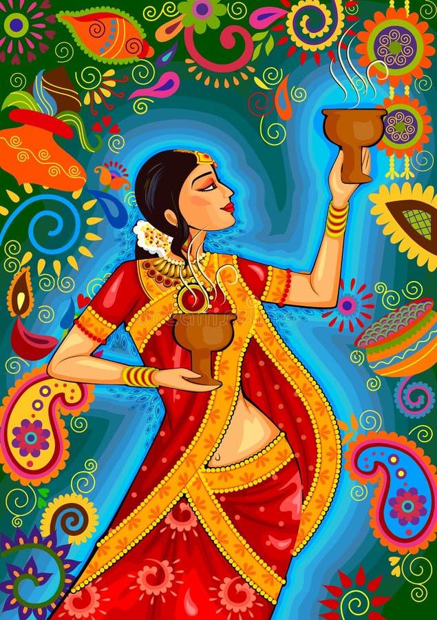 Donna indiana che fa ballo di dhunuchi del Bengala durante la celebrazione di Durga Puja Dussehra in India illustrazione vettoriale
