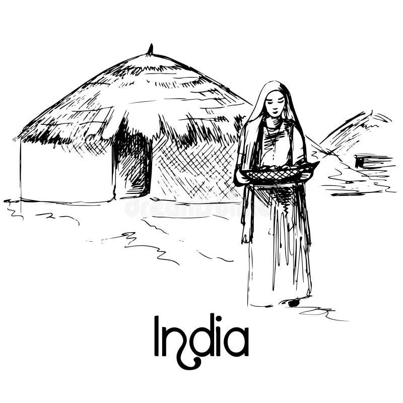 Donna indiana con alimento illustrazione vettoriale