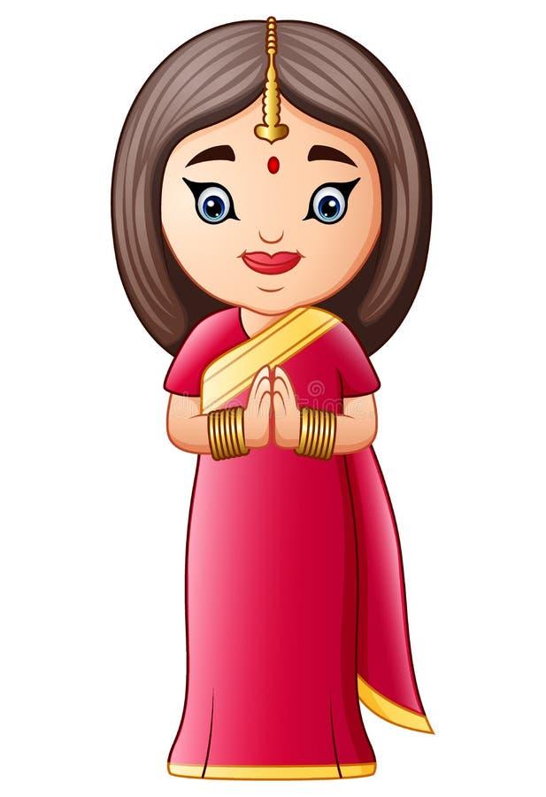 Donna indiana del fumetto che porta i costumi tradizionali illustrazione di stock