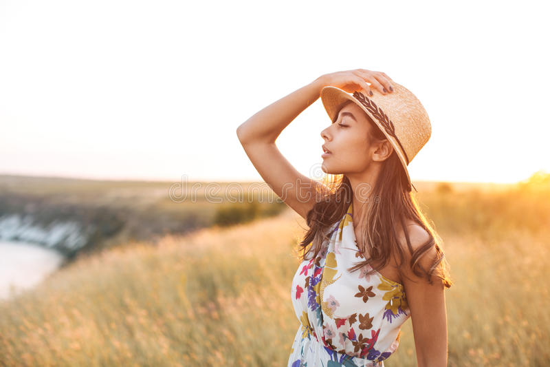 Donna indiana nel campo dorato con il vestito da estate immagini stock