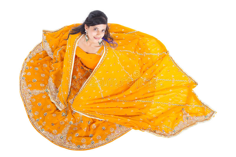 Donna indiana in sari fotografia stock