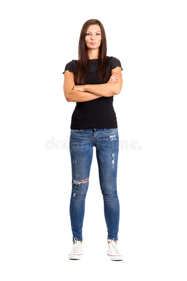 Donna infelice sicura con le armi attraversate o piegate fotografia stock libera da diritti