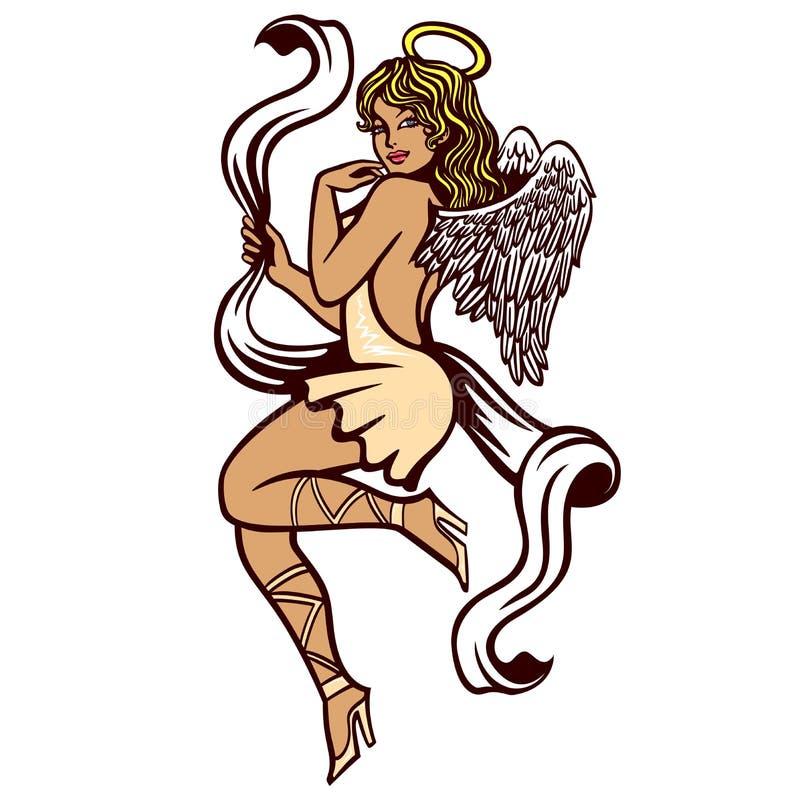 Donna innocente di retro pin-up sexy in costume sensuale di angelo con l'illustrazione di vettore di alone illustrazione di stock
