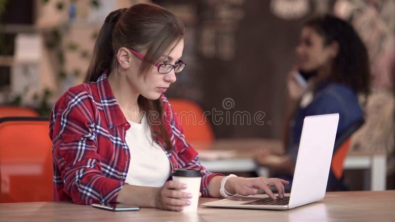 Donna intellettuale che scrive sul computer portatile in caffè, free lance che lavorano al nuovo progetto fotografie stock libere da diritti