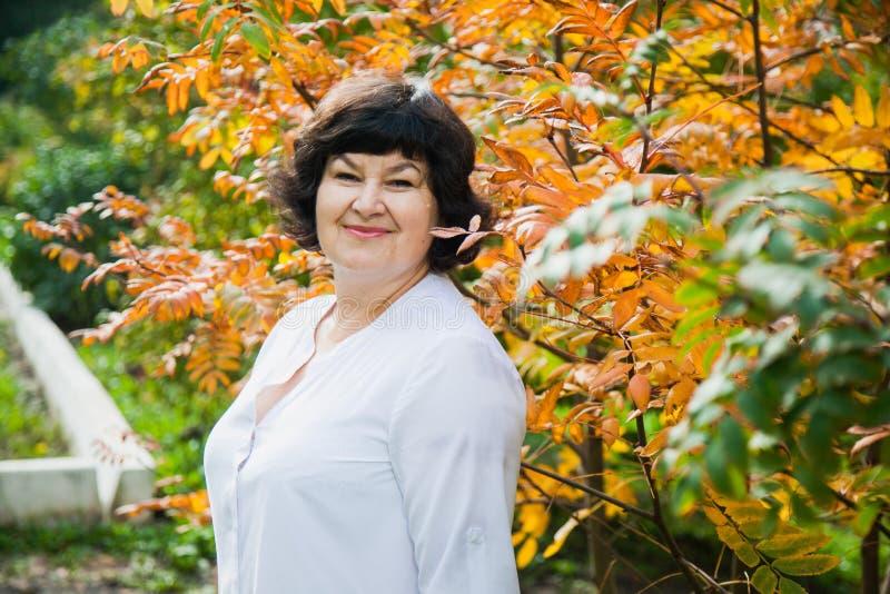 Donna invecchiata bello mezzo in foglie gialle fotografia stock libera da diritti