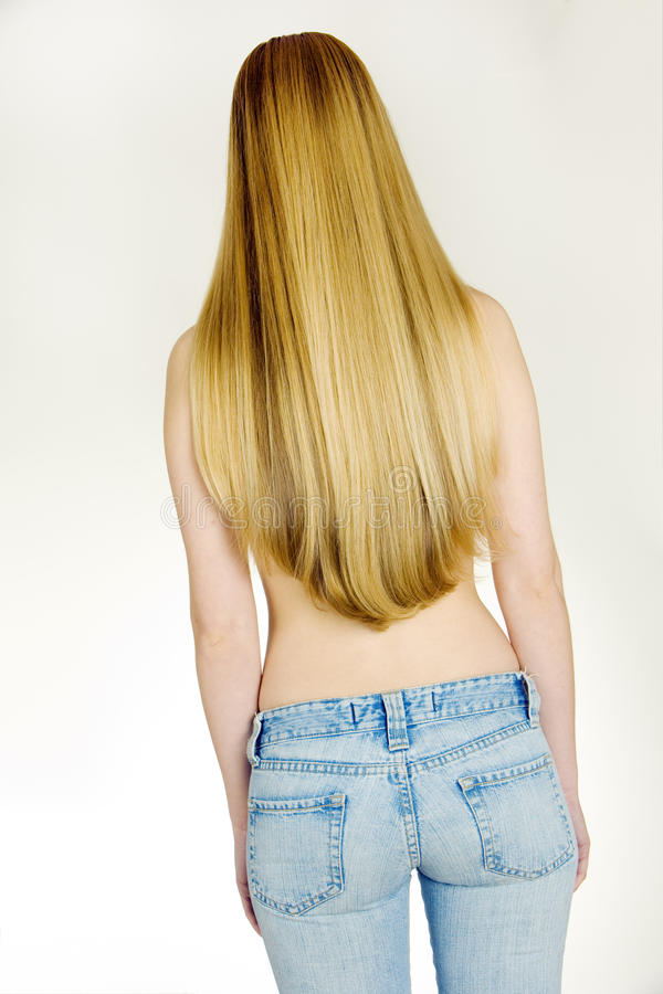 Donna in jeans immagine stock