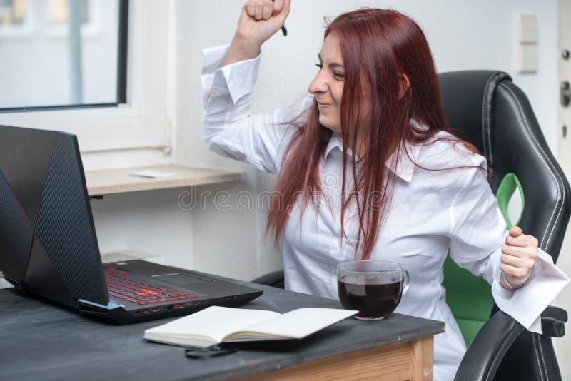 Donna lavoratrice felice, piccola impresa immagini stock