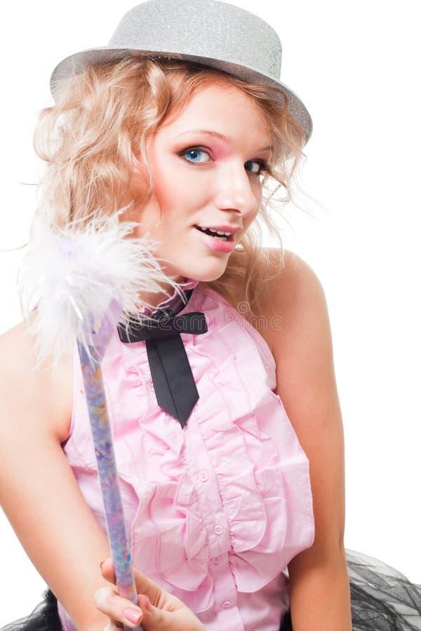 Donna leggiadramente bionda dentellare con la bacchetta magica immagini stock libere da diritti