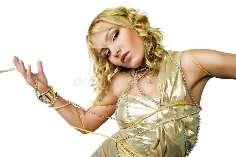Donna limitata con le corde fotografie stock libere da diritti
