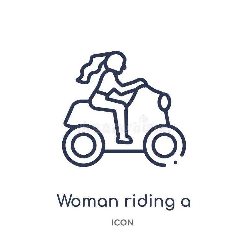 Donna lineare che guida un'icona della motocicletta dalla raccolta del profilo delle signore Linea sottile donna che guida un'ico royalty illustrazione gratis