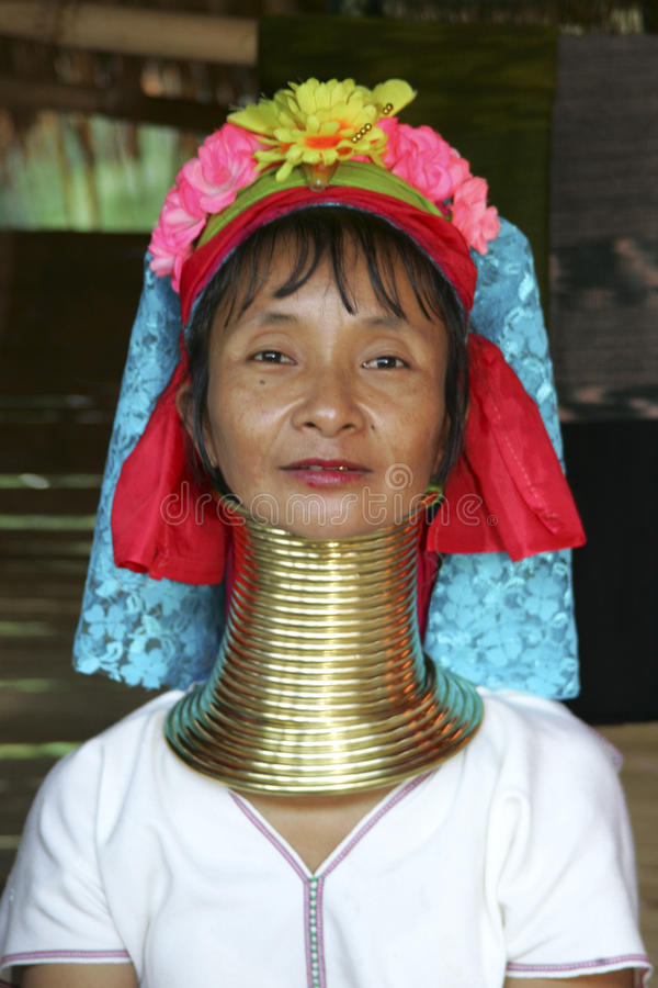 Donna lunga del collo, Tailandia fotografia stock