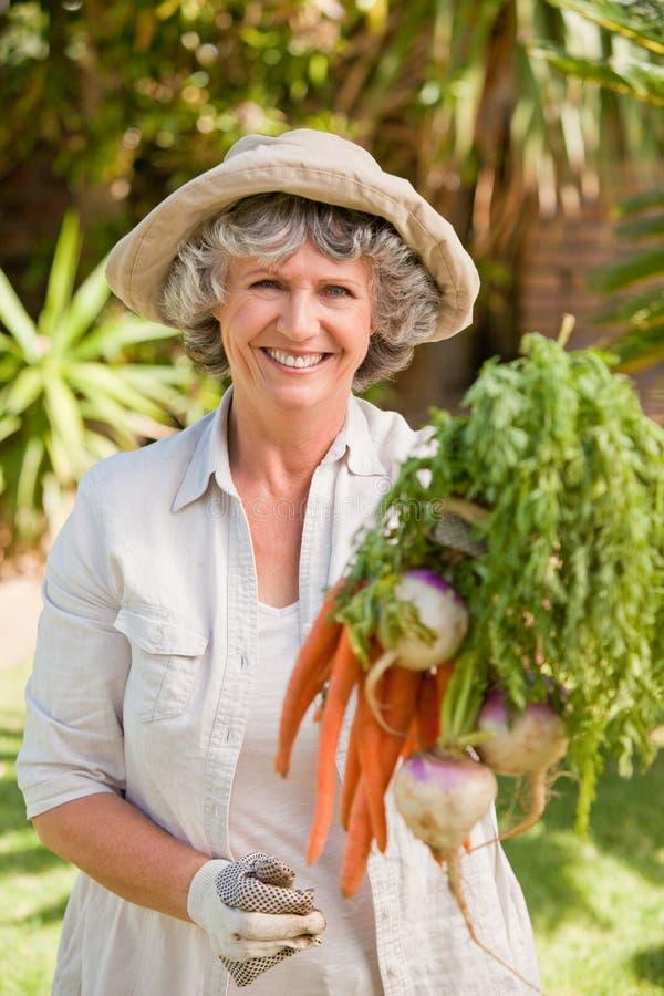Donna maggiore con le verdure fotografia stock libera da diritti