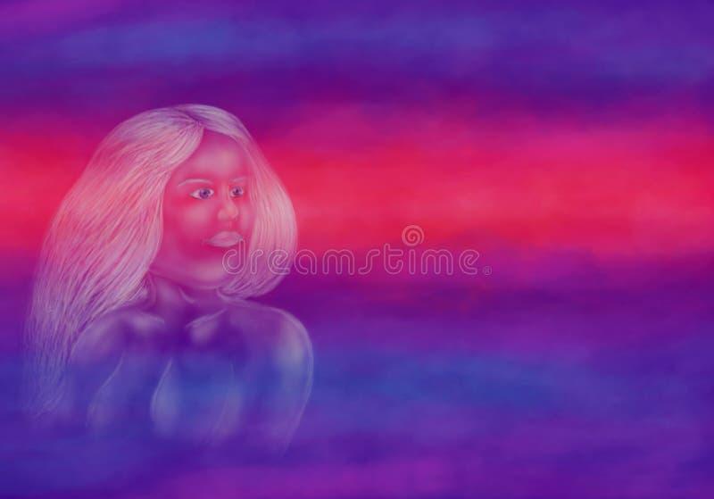 Donna magica giovane di angelo della donna di sogno di aspetto enigmatico e carismatico di visione, 2918 royalty illustrazione gratis