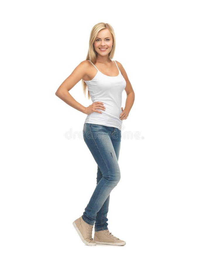 Donna in maglietta bianca in bianco immagini stock