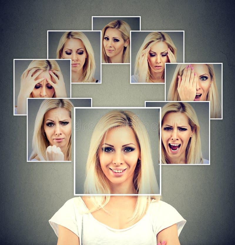 Donna mascherata felice che esprime le emozioni differenti immagine stock libera da diritti