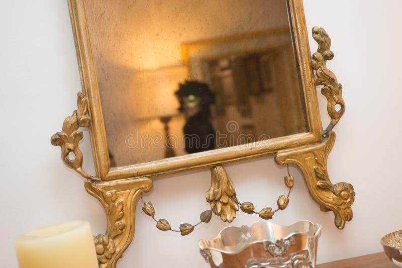 Donna mascherata nello specchio antico fotografia stock