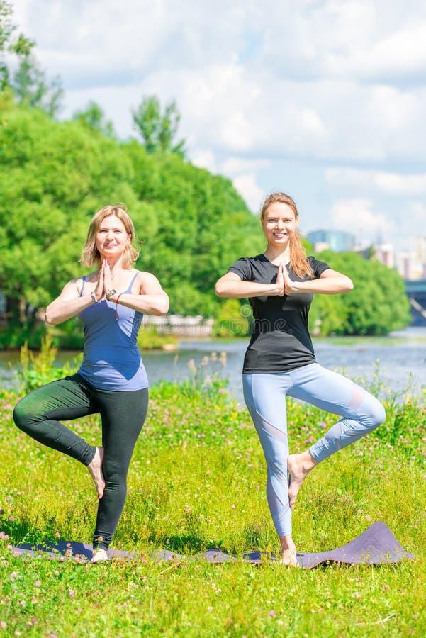 Donna matura con un singolo istruttore di yoga che fa un esercizio di equilibrio immagini stock libere da diritti