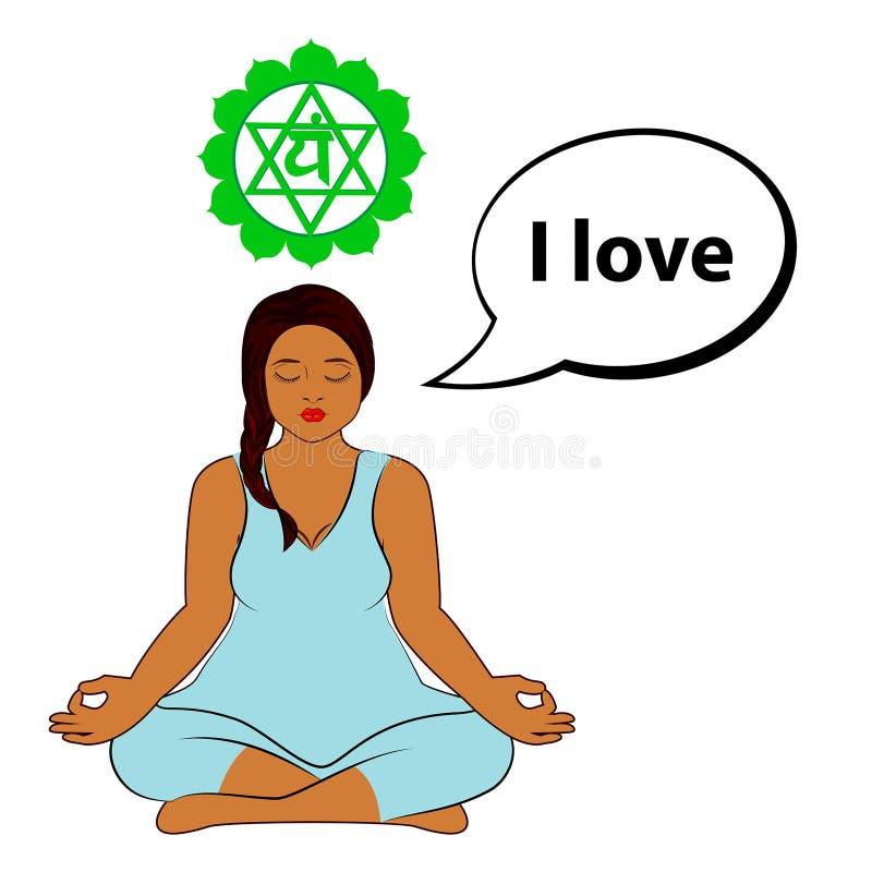 Donna Meditating Amo - l'affermazione per il chakra Anahata illustrazione vettoriale