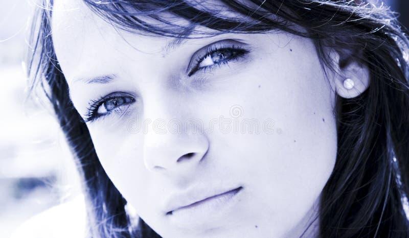 Donna Melancholic del brunette fotografia stock libera da diritti