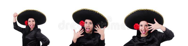 Donna messicana isolata sui precedenti bianchi fotografie stock libere da diritti