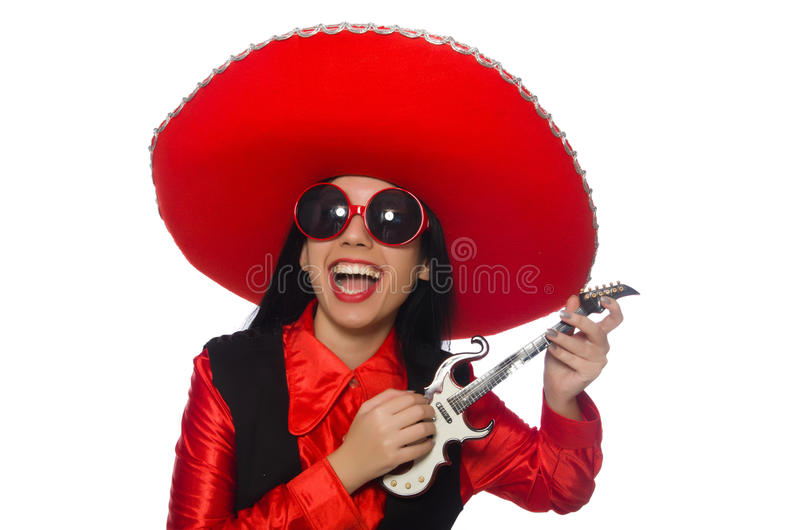 Donna messicana nel concetto divertente su bianco fotografia stock