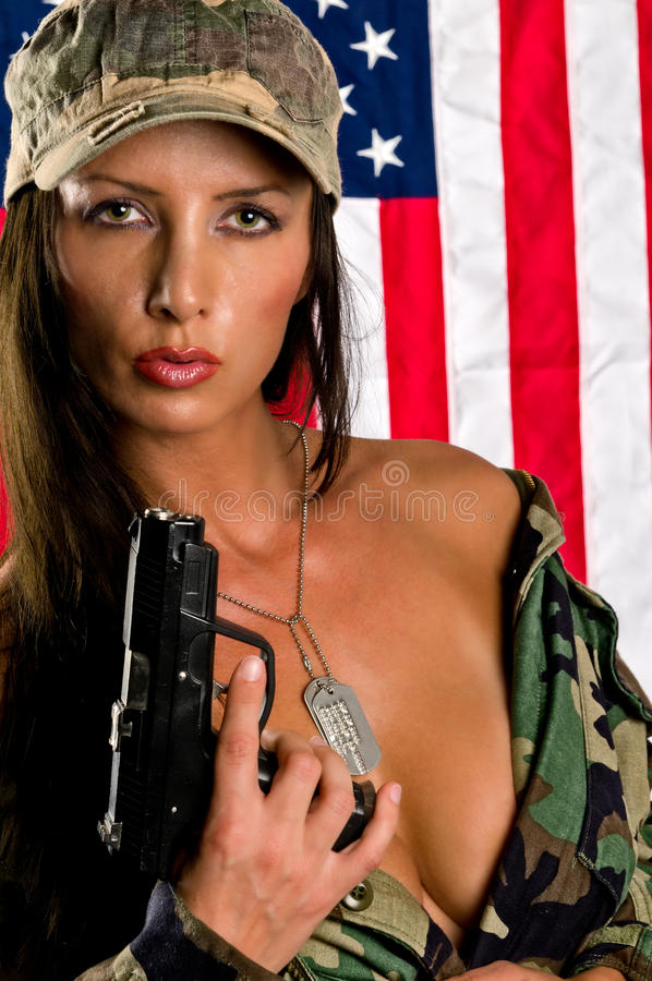 Donna militar sensuale immagine stock