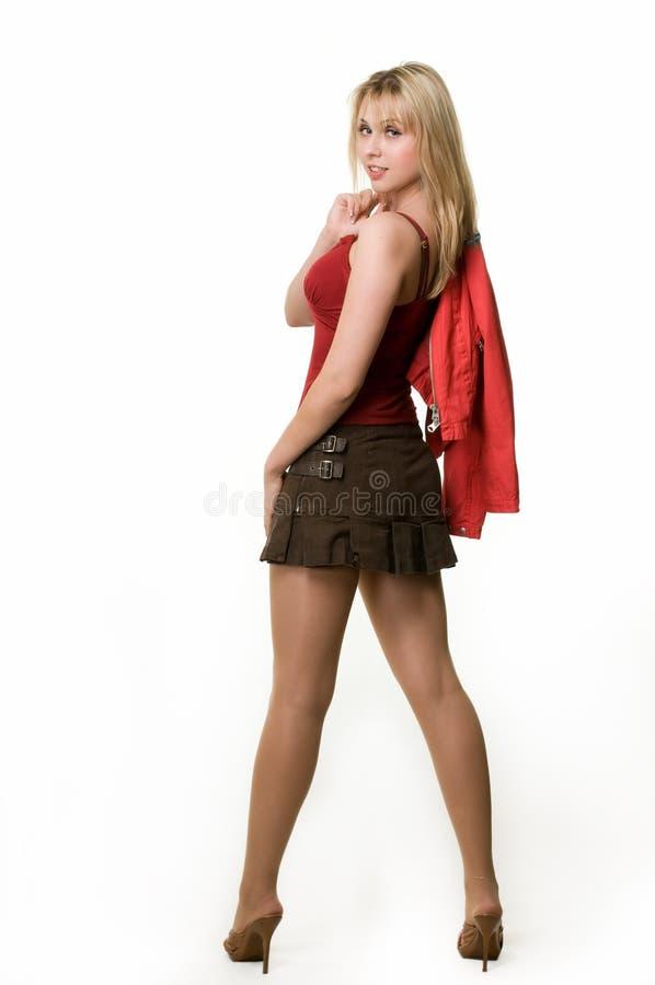 Donna in mini pannello esterno immagine stock libera da diritti