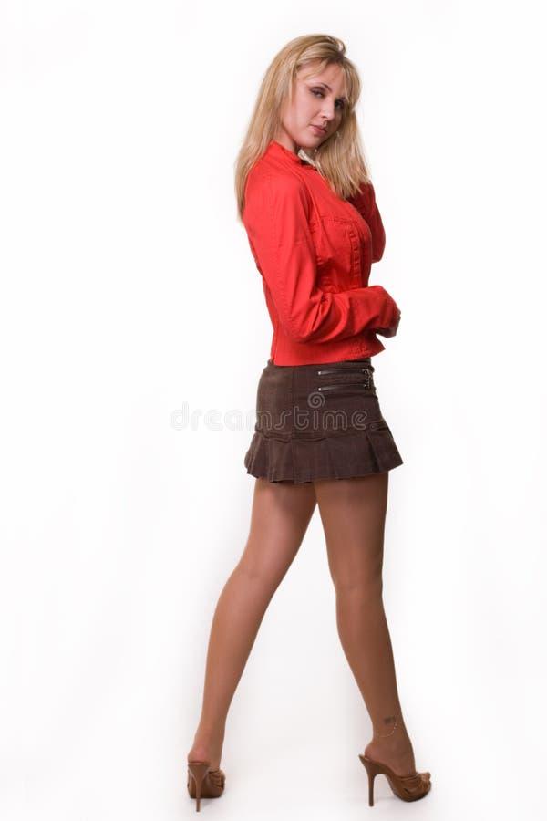 Donna in mini pannello esterno fotografie stock