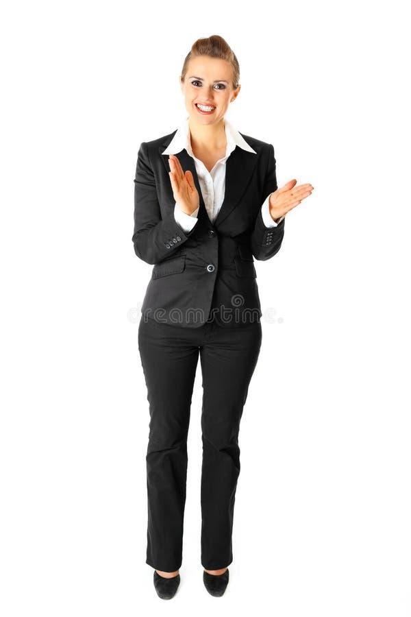 Donna moderna d'applauso di affari isolata su bianco immagini stock libere da diritti