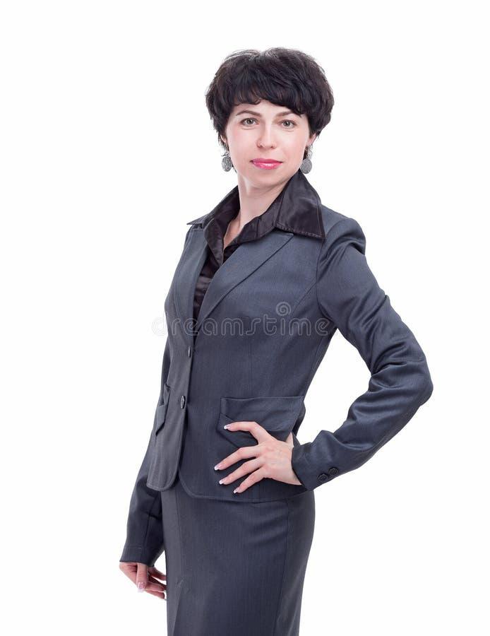 Donna moderna di affari in un vestito immagini stock