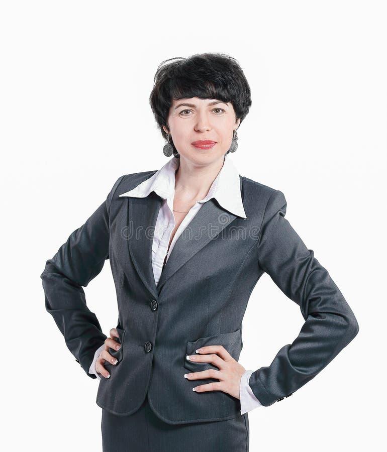 Donna moderna sicura di affari isolata su bianco immagine stock libera da diritti
