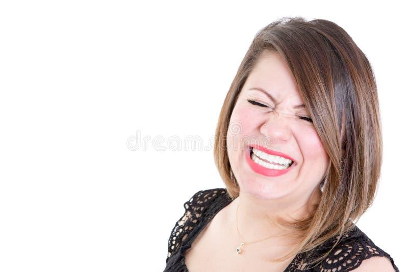 Donna molto felice contro fondo bianco immagine stock libera da diritti