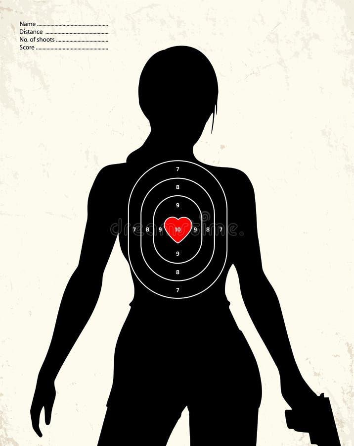 Donna munita pericolosa - obiettivo della gamma di fucilazione royalty illustrazione gratis
