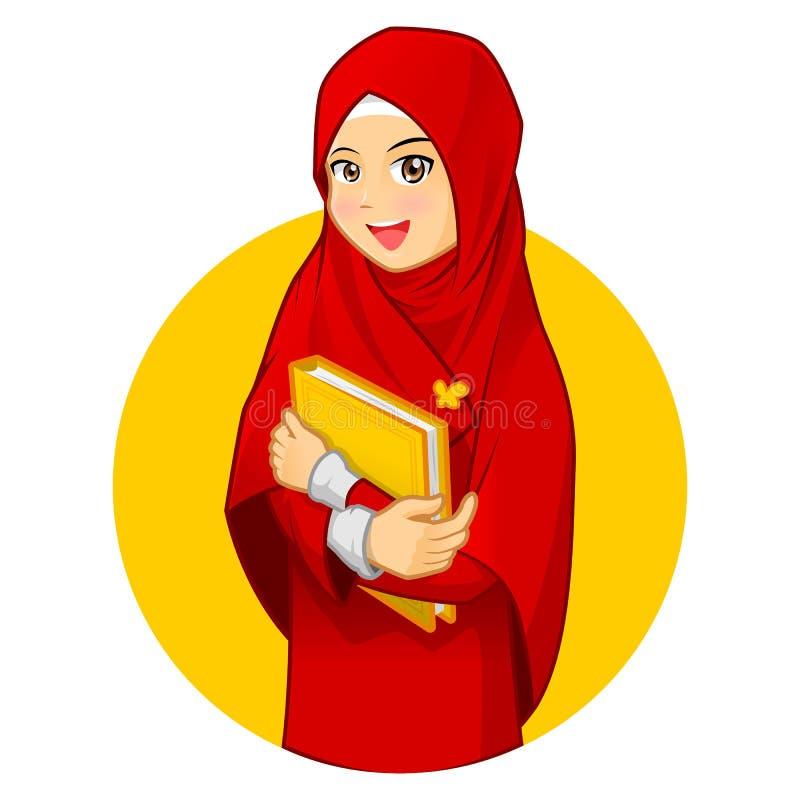 Donna musulmana con abbracciare un libro che indossa velo rosso illustrazione di stock