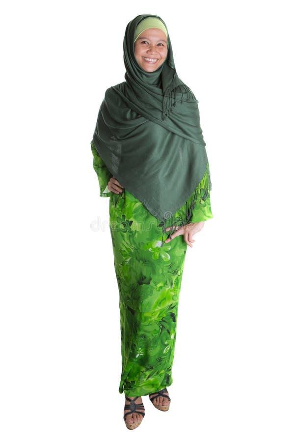 Donna musulmana in Hijab verde VIII fotografia stock