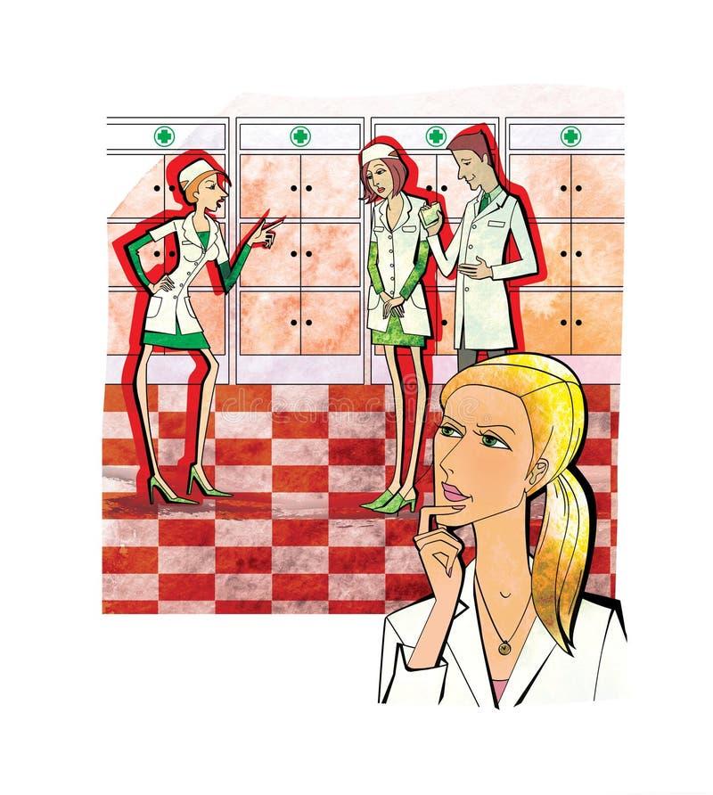 Donna negli sguardi uniformi bianchi meditatamente al conflitto fra gli impiegati di una farmacia o una clinica medica Isolato su royalty illustrazione gratis