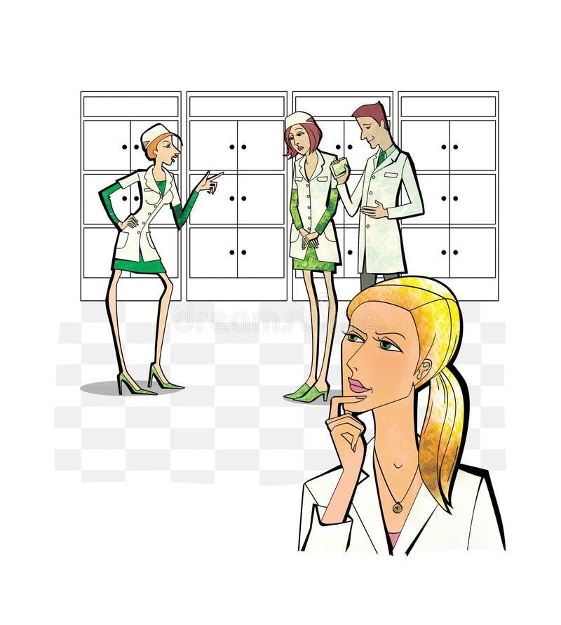 Donna negli sguardi uniformi bianchi meditatamente al conflitto fra gli impiegati di una farmacia o una clinica medica Su bianco illustrazione vettoriale