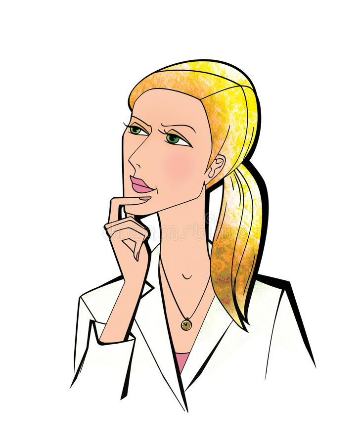 Donna negli sguardi uniformi bianchi verso l'alto che tengono meditatamente la sua mano destra al suo mento Isolato su priorità b illustrazione di stock