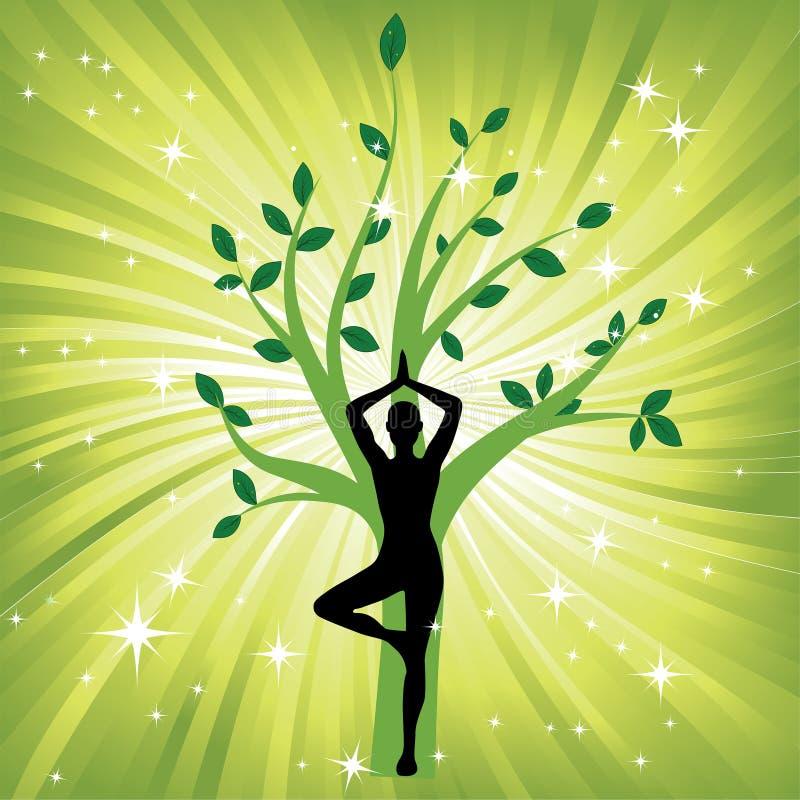 Donna nel asana dell'albero di yoga illustrazione di stock