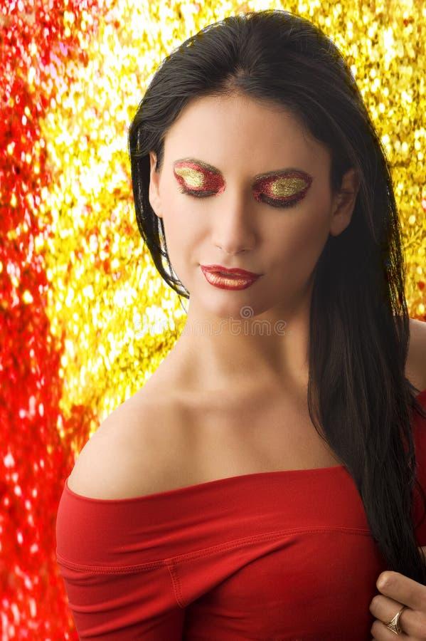 Donna nel colore rosso immagine stock