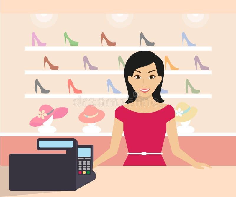 Donna nel negozio illustrazione vettoriale