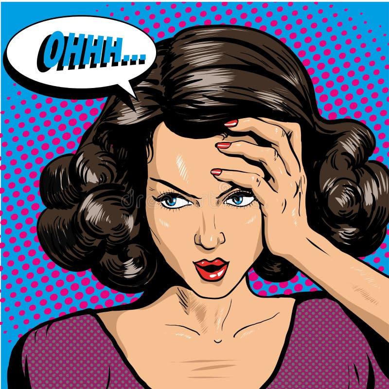 Donna nel retro stile comico di Pop art Fumetto emozionale di reazione della ragazza oh royalty illustrazione gratis