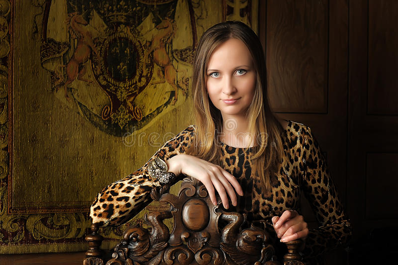 Donna nel retro stile in vestito dal leopardo immagini stock
