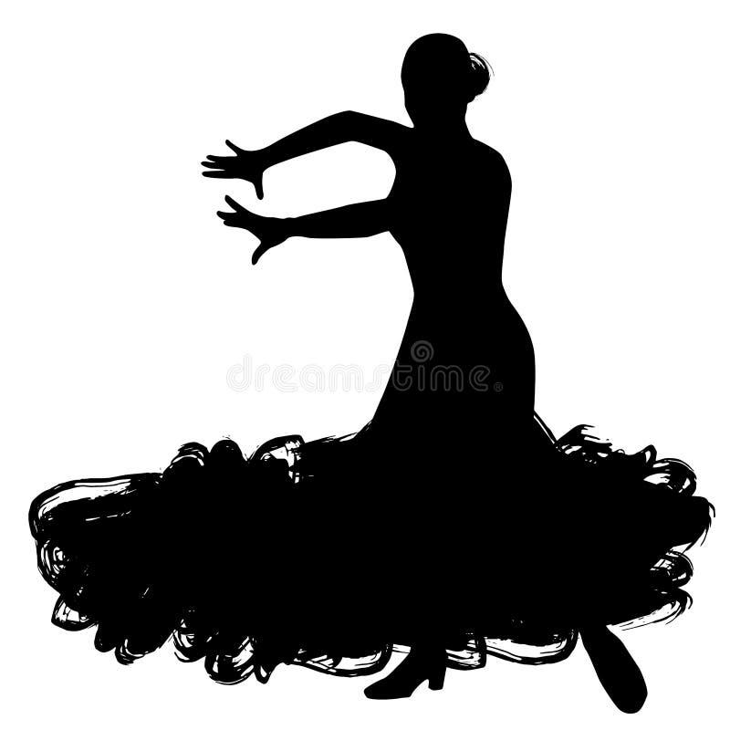 Donna nel soggiorno lungo del vestito nella posa di dancing regioni di Spanish del ballerino di flamenco di Andalusia, Estremadur illustrazione vettoriale
