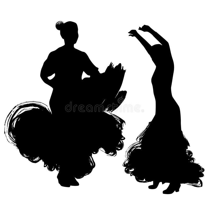 Donna nel soggiorno lungo del vestito nella posa di dancing regioni di Spanish del ballerino di flamenco di Andalusia, Estremadur royalty illustrazione gratis